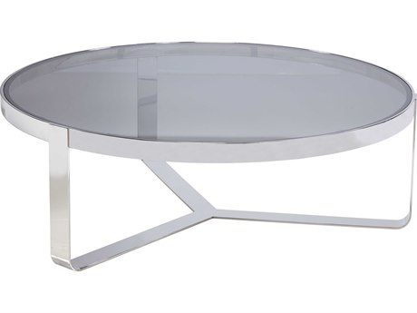 Lillian August Casegoods Smoke Grey / Polished Stainless Steel 54'' Wide Round Coffee Table