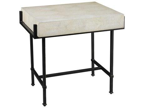 Lillian August Casegoods Taupe Shagreen / Bronze 28'' Wide Rectangular End Table