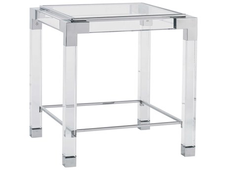 Lillian August Casegoods Clear / Polished Stainless Steel 24'' Wide Square End Table