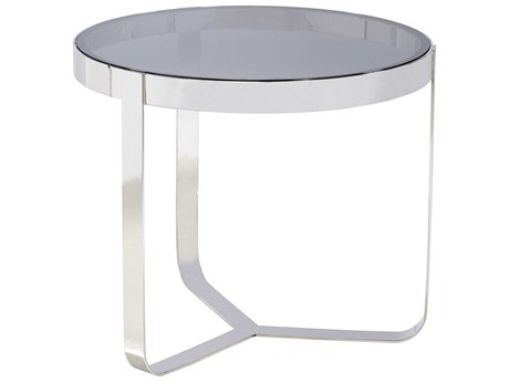 Lillian August Casegoods Smoke Light Grey / Polished Stainless Steel 28'' Wide Round End Table