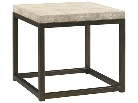 Lillian August Casegoods Pearl White Shagreen / Bronze 22'' Wide Rectangular End Table