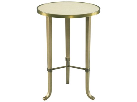 Lillian August Casegoods Warm Cream Shagreen / Aged Gold Bronze 16'' Wide Round End Table