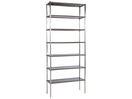 Lillian August Casegoods Smoke Grey / Polished Stainless Steel Etagere