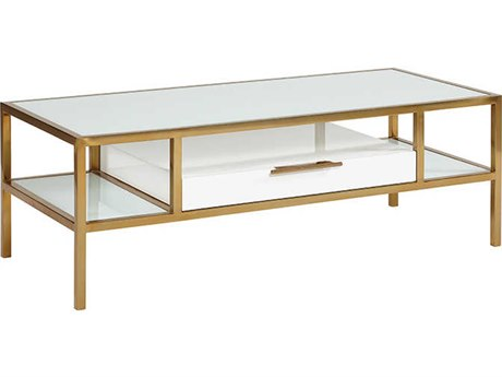Lillian August Modern Living White Lacquer / Brass 54'' Wide Rectangular Coffee Table