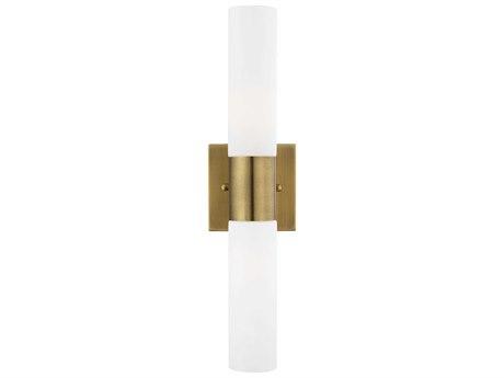 Livex Lighting Aero Antique Brass Glass Vanity Light Wall Sconce LV1010201