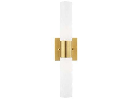Livex Lighting Aero Satin Brass Glass Vanity Light Wall Sconce LV1010212