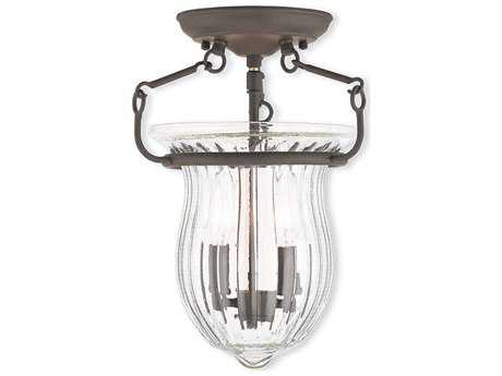 Livex Lighting Andover Bronze Two-Light 10'' Wide Semi Flush Mount Light LV5094107