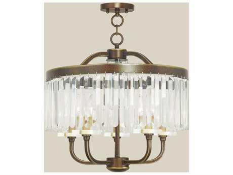 Livex Lighting Ashton Palacial Bronze Five-Light 20'' Wide Convertible Mini Chandelier / Ceiling Mount LV5054564