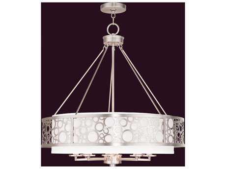 Livex Lighting Avalon Brushed Nickel Eight-Light 26'' Wide Pendant Light