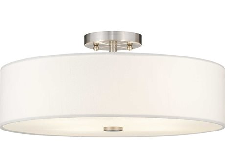 Livex Lighting Brighton Brushed Nickel Four-Light 18'' Wide Semi Flush Mount Light LV5105591