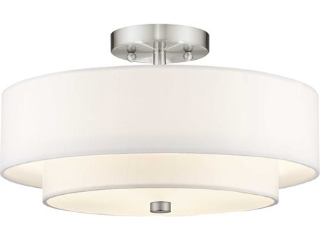 Livex Lighting Claremont Brushed Nickel Three-Light 15'' Wide Semi Flush Mount Light LV5104491