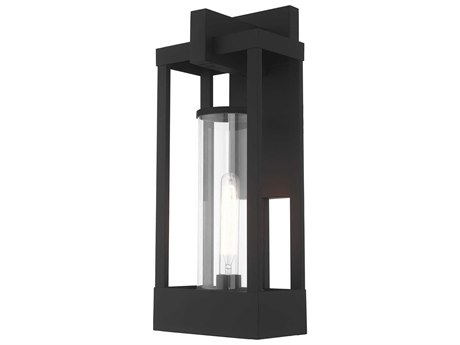 Livex Lighting Delancey Black Glass Outdoor Wall Light