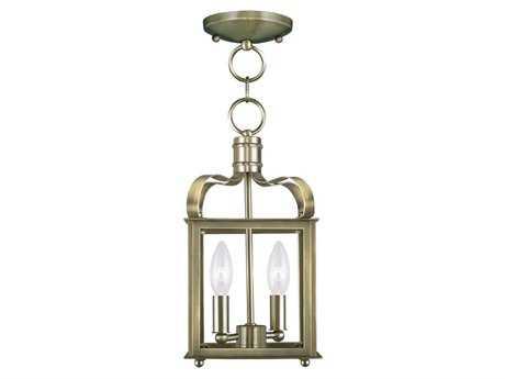 Livex Lighting Garfield Antique Brass Two-Light 7'' Wide Pendant Light LV431201