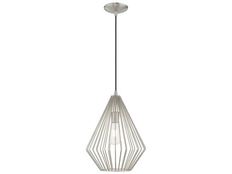 Livex Lighting Geometric Shade Mini Pendants Brushed Nickel 11'' Wide LV4132591