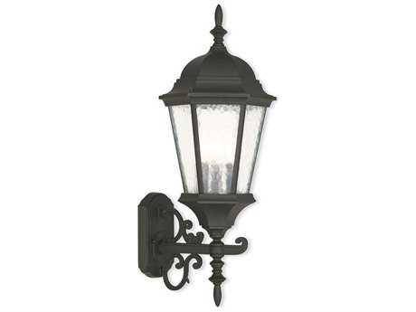 Livex Lighting Hamilton Textured Black 9.5'' Three-Light Outdoor Wall Light