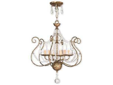 Livex Lighting Isabella European Bronze Six-Light 20'' Wide Convertible Mini Chandelier / Ceiling Mount LV5191636