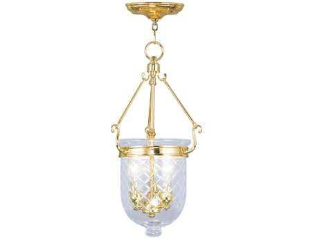 Livex Lighting Jefferson Polished Brass Three-Light 10'' Wide Pendant Light LV507302