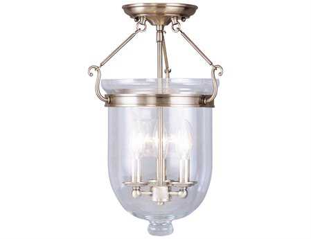 Livex Lighting Jefferson Antique Brass Three-Light 12'' Wide Semi-Flush Mount Light LV506201