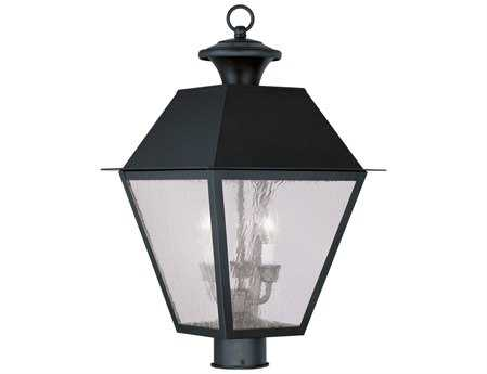 Livex Lighting Mansfield Black Three-Light Outdoor Post Light LV216904