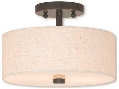 Livex Lighting Meridian English Bronze Two-Light 11'' Wide Semi-Flush Mount Light LV5213392