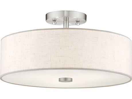Livex Lighting Meridian Brushed Nickel Three-Light 15'' Wide Semi-Flush Mount Light LV5213591