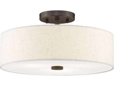 Livex Lighting Meridian English Bronze Three-Light 15'' Wide Semi-Flush Mount Light LV5213592