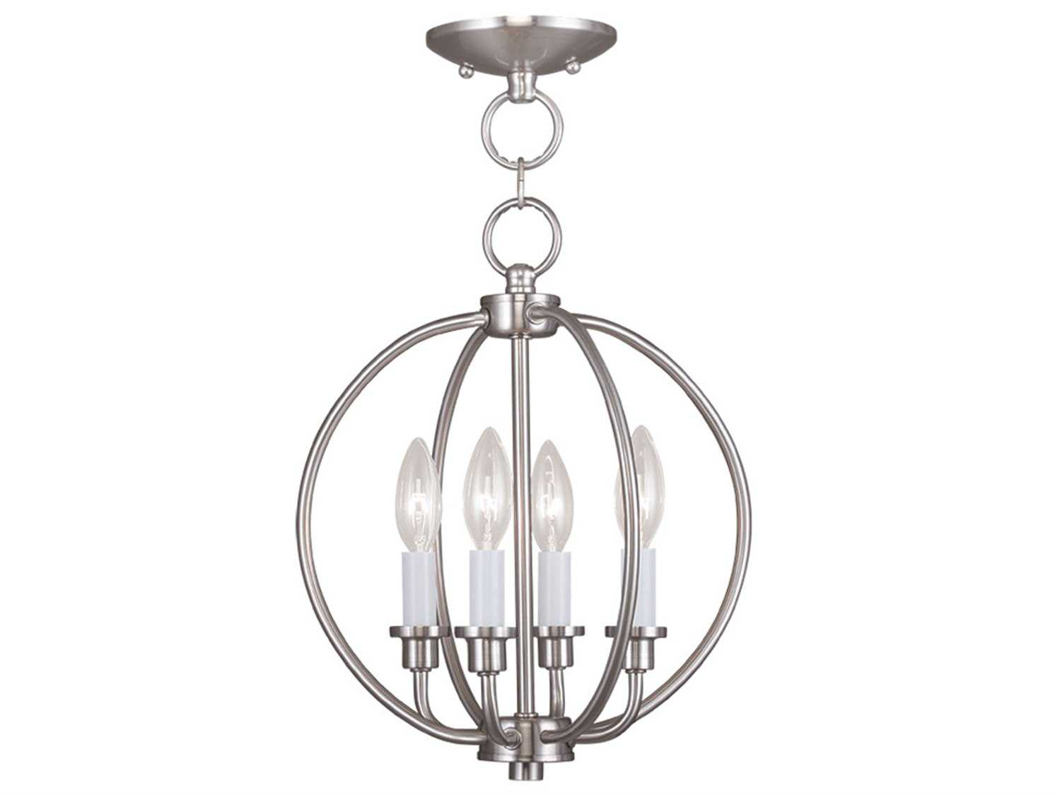 Progress Lighting Lucky Collection 4 Light Brushed Nickel: Livex Lighting Milania Brushed Nickel Four-Light 12.5