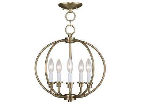 Livex Lighting Milania Antique Brass Five-Light 16'' Wide Pendant Light LV466501