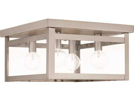 Livex Lighting Milford Brushed Nickel Four-Light 11'' Wide Flush Mount Ceiling Light LV403291