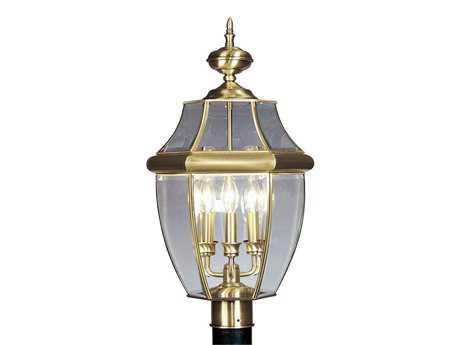 Livex Lighting Monterey Antique Brass Three-Light Outdoor Post Light