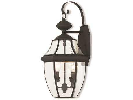 Livex Lighting Monterey Black Glass Outdoor Wall Light