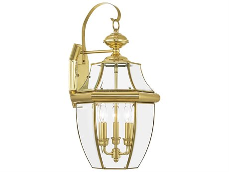 Livex Lighting Monterey Polished Brass Three-Light Outdoor Wall Light LV235102