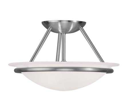 Livex Lighting Newburgh Brushed Nickel Two-Light 12'' Wide Semi-Flush Mount Light LV482391