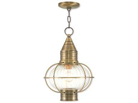 Livex Lighting Newburyport Antique Brass Outdoor Pendant Light LV2700601