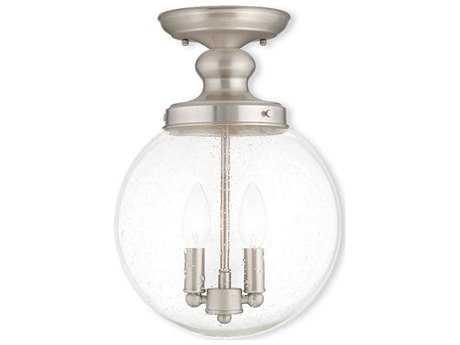 Livex Lighting Northampton Brushed Nickel Two-Light 10'' Wide Semi Flush Mount Light