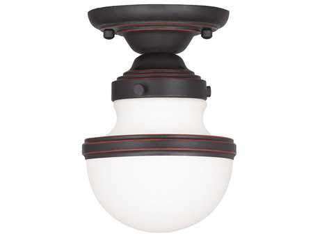 Livex Lighting Oldwick Olde Bronze 5.5'' Wide Semi-Flush Mount Light