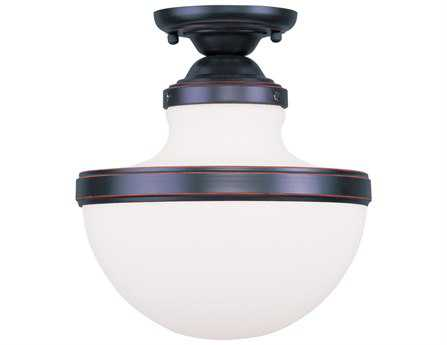 Livex Lighting Oldwick Olde Bronze 10.25'' Wide Semi-Flush Mount Light