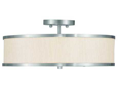 Livex Lighting Park Ridge Brushed Nickel Three-Light  18'' Wide Semi-Flush Mount Light LV635091