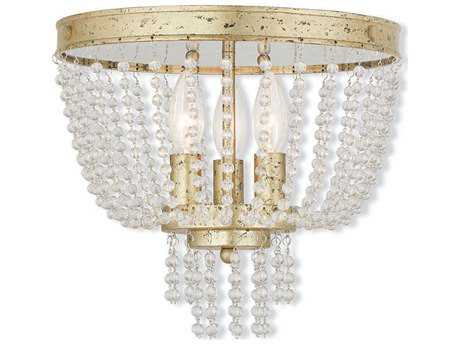 Livex Lighting Valentina Hand Applied Winter Gold Three-Light 12.25'' Wide Flush Mount Light