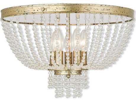 Livex Lighting Valentina Hand Applied Winter Gold Five-Light 18.25'' Wide Flush Mount Light