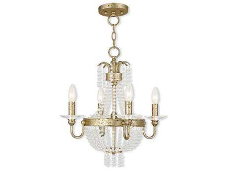 Livex Lighting Valentina Winter Gold Four-Light 18'' Wide Convertible Mini Chandelier / Ceiling Mount LV5184428