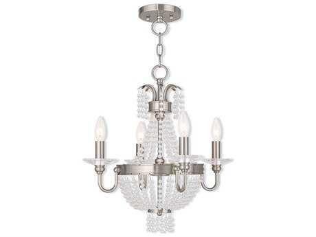 Livex Lighting Valentina Brushed Nickel Four-Light 18'' Wide Convertible Mini Chandelier / Ceiling Mount LV5184491