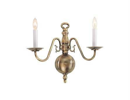 Livex Lighting Williamsburg Antique Brass Two-Light Wall Sconce
