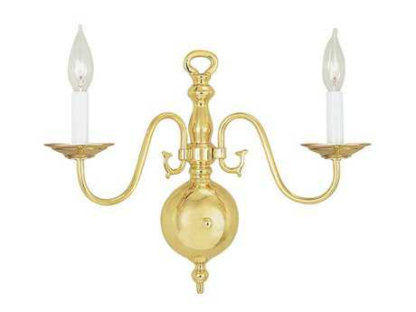 Livex Lighting Williamsburg Polished Brass Two-Light Wall Sconce