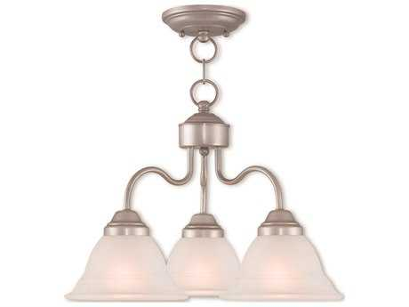 Livex Lighting Wynnewood Brushed Silver Three-Light 18'' Wide Convertible Mini Chandelier / Ceiling Mount LV4072334