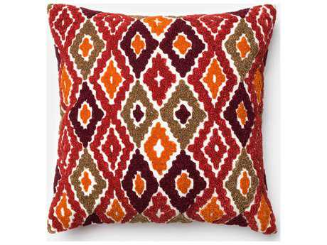 Loloi Rugs 18'' Square Red & Orange Pillow (Sold in 4) LLP0008REORPIL1