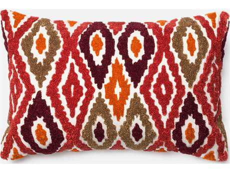 Loloi Rugs 13'' x 21'' Rectangular Red & Orange Pillow (Sold in 4) LLP0008REORPIL5