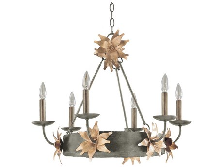Lucas McKearn Simone Silver With Gold Leaf Blossom 6-light 27'' Wide Crystal Medium Chandelier LCKCH11626