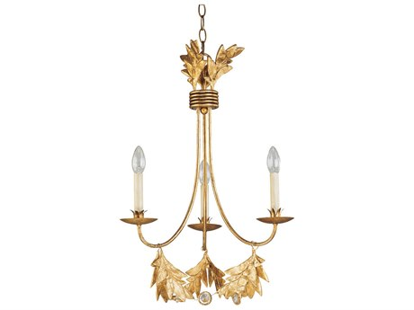 Lucas McKearn Sweet Olive Distressed Gold / Crystal Accent 3-light 20'' Wide Mini Chandelier LCKCH11593