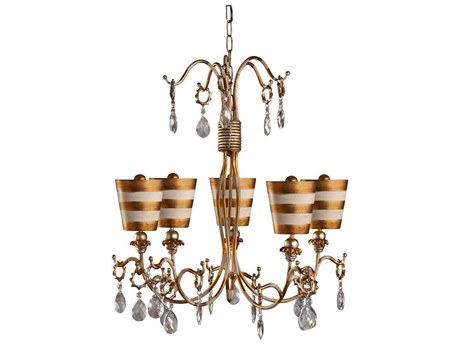 Lucas McKearn Tivoli Gold Five-Light 30'' Wide Chandelier LCKCH1038G